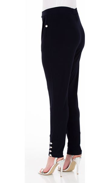 Tapered Button Stretch Trousers Midnight - Gallery Image 2