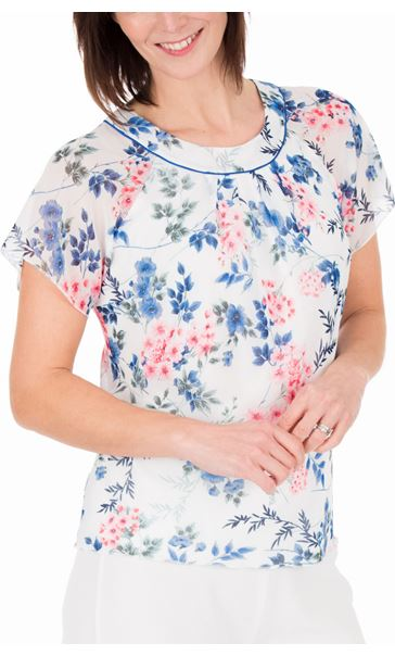 Anna Rose Bias Cut Floral Chiffon Top Ivory Multi