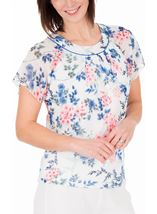 Anna Rose Bias Cut Floral Chiffon Top Ivory Multi - Gallery Image 1