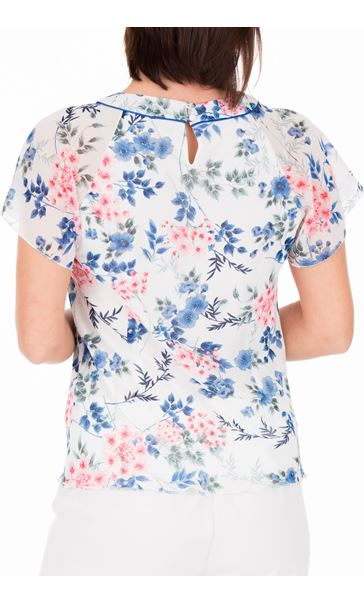Anna Rose Bias Cut Floral Chiffon Top Ivory Multi - Gallery Image 2