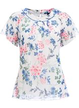 Anna Rose Bias Cut Floral Chiffon Top Ivory Multi - Gallery Image 4