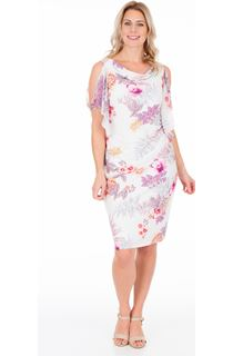 Floral Cowl Neck Fitted Midi Dress