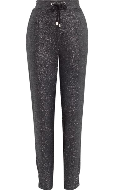 Glitter Tapered Tie Front Trousers Black/Silver