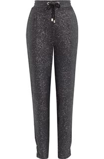 Glitter Tapered Tie Front Trousers - Black/Silver