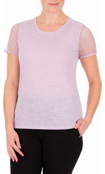 Anna Rose Short Lace Sleeve Top Lilac