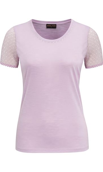 Anna Rose Short Lace Sleeve Top Lilac - Gallery Image 4