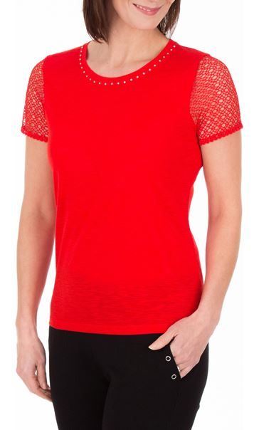 Anna Rose Short Lace Sleeve Top - Red