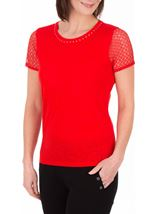 Anna Rose Short Lace Sleeve Top Red - Gallery Image 1
