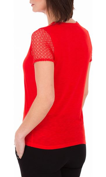 Anna Rose Short Lace Sleeve Top Red - Gallery Image 2
