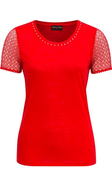 Anna Rose Short Lace Sleeve Top Red - Gallery Image 4