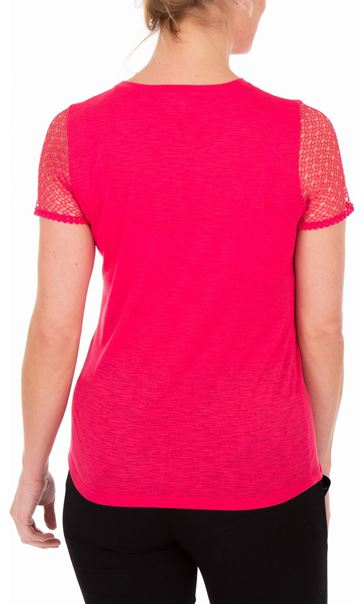 Anna Rose Short Lace Sleeve Top Watermelon - Gallery Image 2
