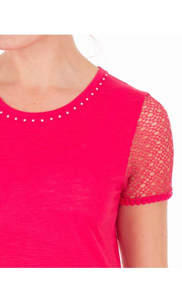 Anna Rose Short Lace Sleeve Top Watermelon - Gallery Image 3