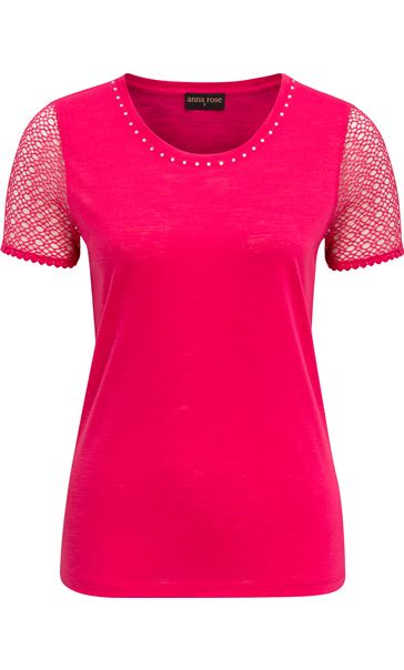 Anna Rose Short Lace Sleeve Top Watermelon - Gallery Image 4