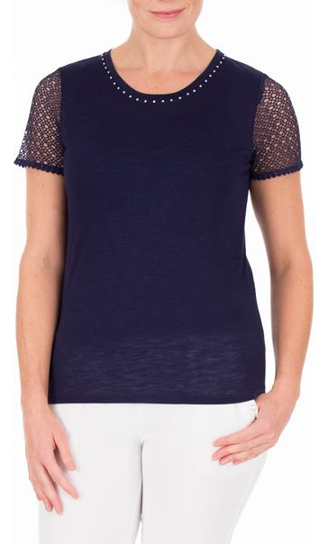 Anna Rose Short Lace Sleeve Top Navy