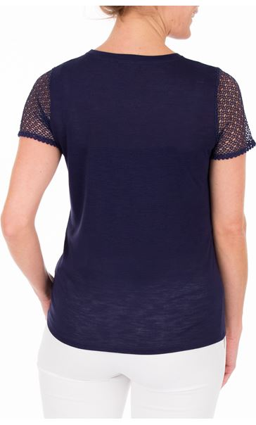 Anna Rose Short Lace Sleeve Top - Navy