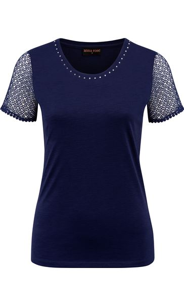 Anna Rose Short Lace Sleeve Top Navy - Gallery Image 4