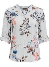 Anna Rose Floral Stripe Top Navy/Multi - Gallery Image 1