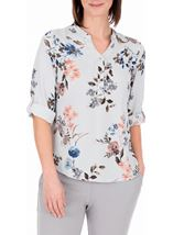 Anna Rose Floral Stripe Top Navy/Multi - Gallery Image 2
