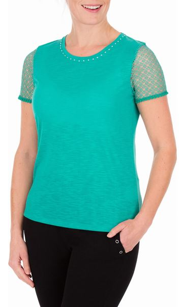 Anna Rose Short Lace Sleeve Top Jade