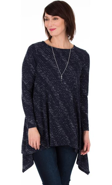 Long Sleeve Dipped Hem Knitted Tunic Navy