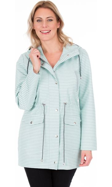 Lightweight Stripe Hooded Coat Aqua Stripe