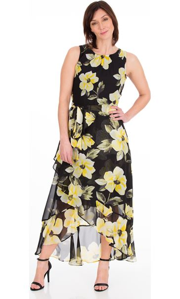 Printed Sleeveless Chiffon Maxi Dress Black