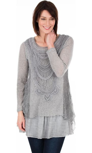 Long Sleeve Layered Knitted Tunic Grey