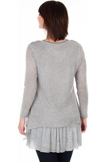 Long Sleeve Layered Knitted Tunic - Grey