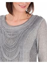 Long Sleeve Layered Knitted Tunic Grey - Gallery Image 3