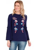 Smocked Sleeve Embellished Top Navy - Gallery Image 1