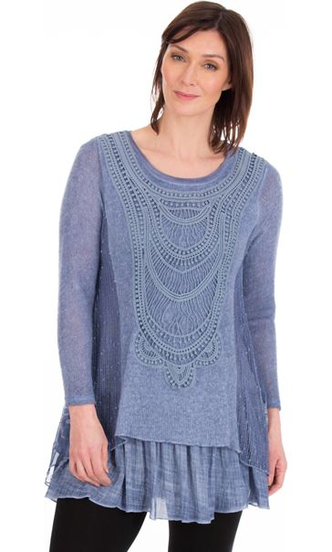Long Sleeve Layered Knitted Tunic Blue