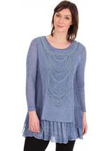 Long Sleeve Layered Knitted Tunic Blue - Gallery Image 1
