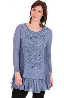 Long Sleeve Layered Knitted Tunic - Blue