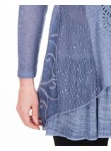 Long Sleeve Layered Knitted Tunic Blue - Gallery Image 3