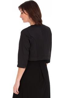 Open Cropped Scuba Jacket - Black