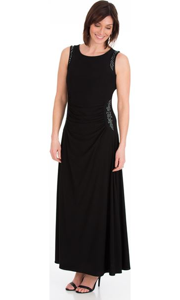 Embellished Sleeveless Maxi Dress Black