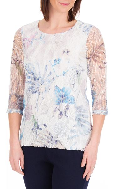 Anna Rose Printed Lace Panel Top