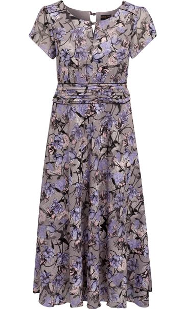 Anna Rose Bias Cut Midi Dress Lilac Multi