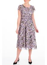 Anna Rose Bias Cut Midi Dress Lilac Multi - Gallery Image 2