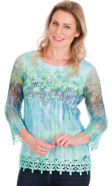 Print And Sequin Round Neck Crochet Top Emerald/Blue