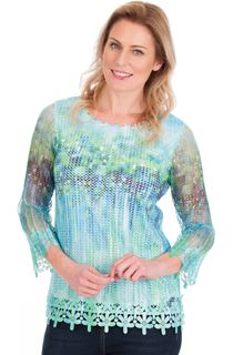 Print And Sequin Round Neck Crochet Top