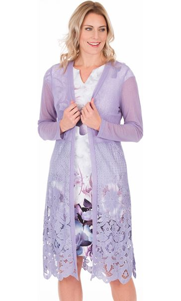 Longline Lace Border Open Cover Up Lilac