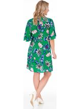Short Sleeve Floral Shirt Dress Emerald/Multi - Gallery Image 2
