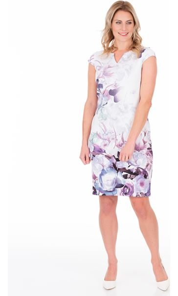 Floral Printed Scuba Midi Dress Lilac Multi