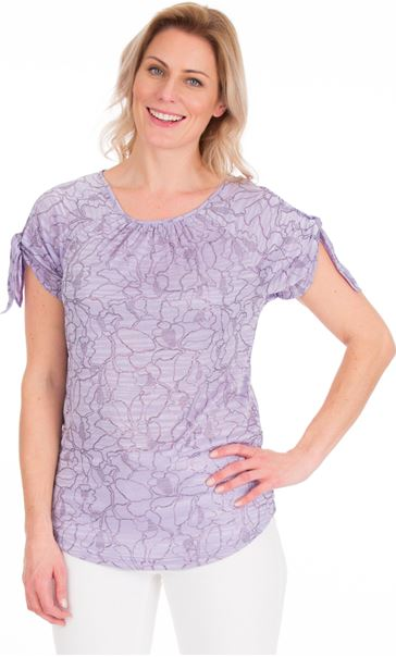 Tie Sleeve Stretch Top Lilac