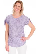 Tie Sleeve Stretch Top Lilac - Gallery Image 1