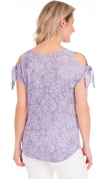 Tie Sleeve Stretch Top Lilac - Gallery Image 2