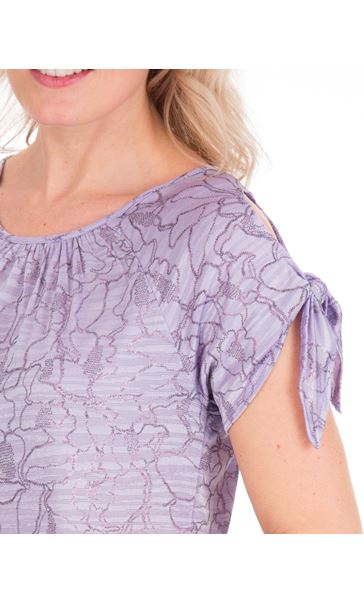 Tie Sleeve Stretch Top Lilac - Gallery Image 3