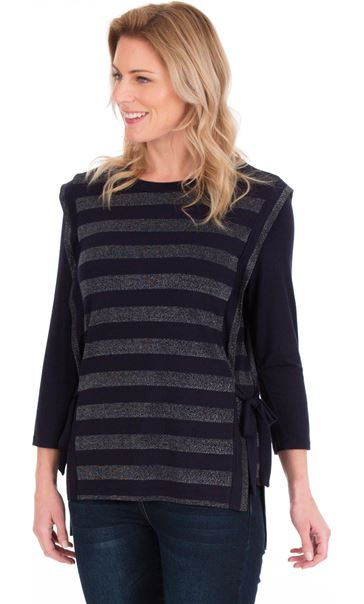 Lurex Stripe Round Neck Top Navy