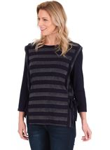 Lurex Stripe Round Neck Top Navy - Gallery Image 1